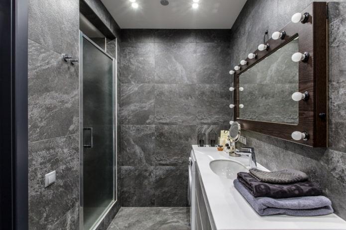 серый интерьер ванной в стиле лофт