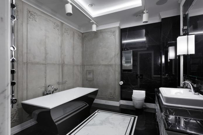 интерьер ванной в черно-серых тонах