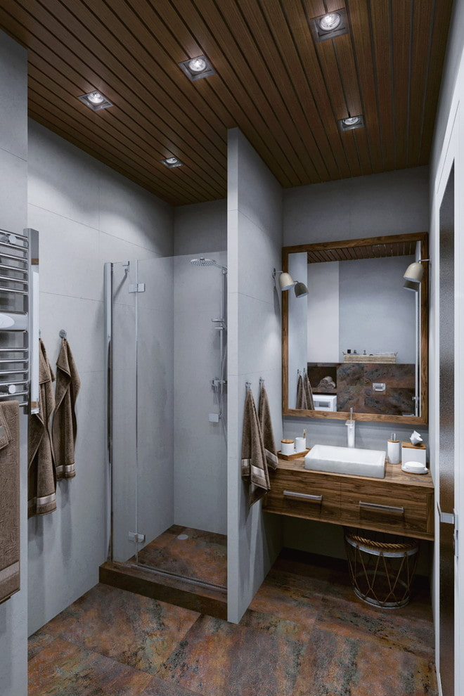 интерьер ванной в серо-коричневых тонах