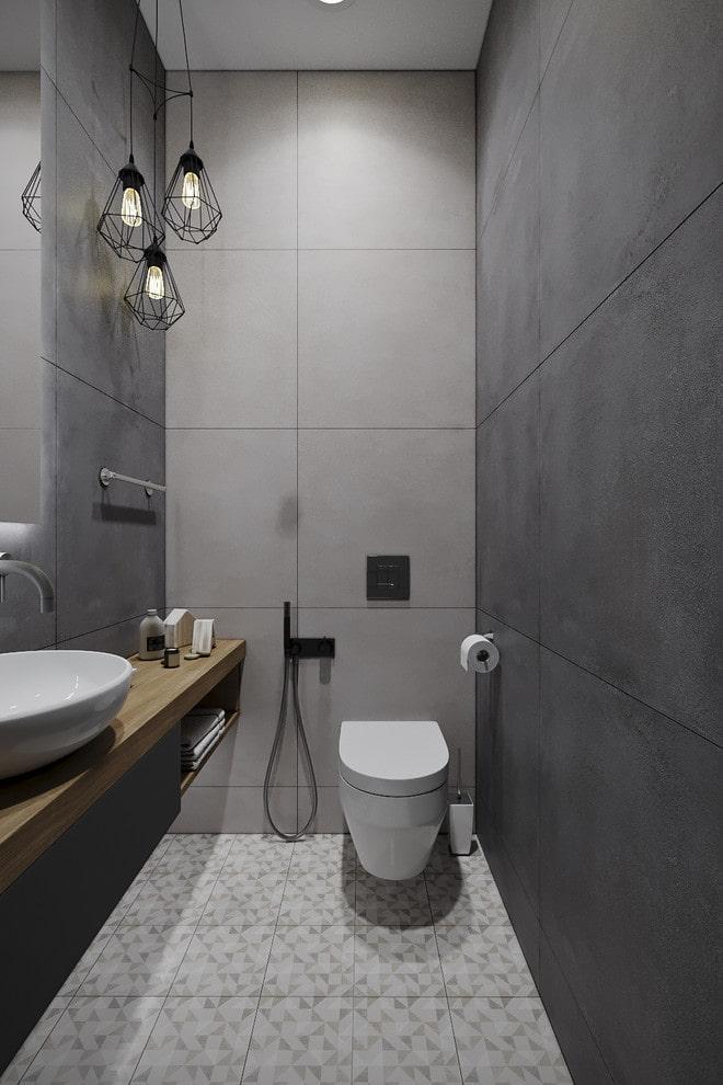 дизайн туалета в серых тонах