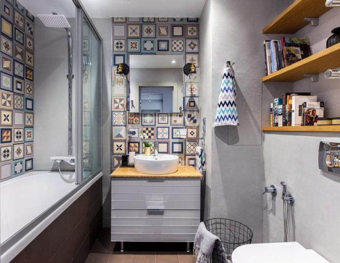 дизайн маленькой ванной комнаты в серых тонах