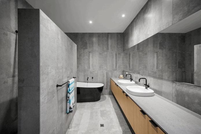 серый интерьер ванной в стиле минимализм