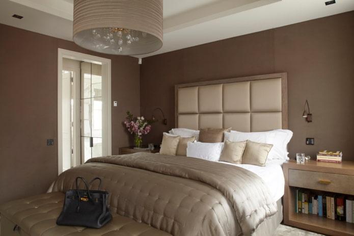 интерьер спальной комнаты в коричневых оттенках