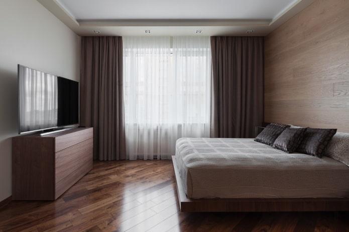 отделка в интерьере коричневой спальни