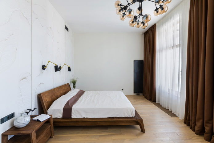 интерьер бело-коричневой спальной комнаты