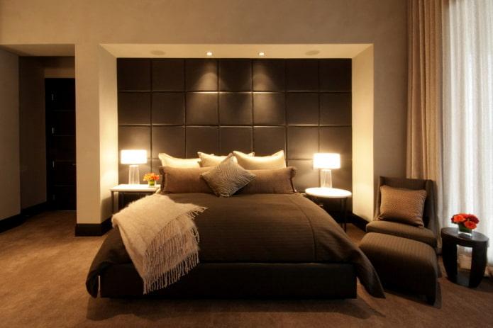 интерьер бежево-коричневой спальни