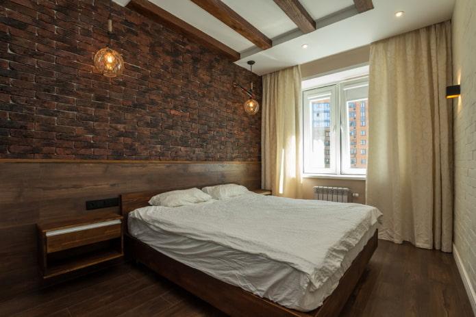 интерьер коричневой спальни в стиле лофт