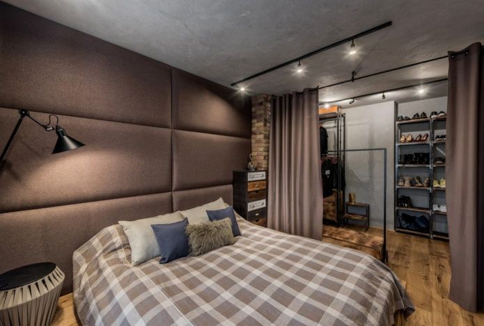интерьер серо-коричневой спальни