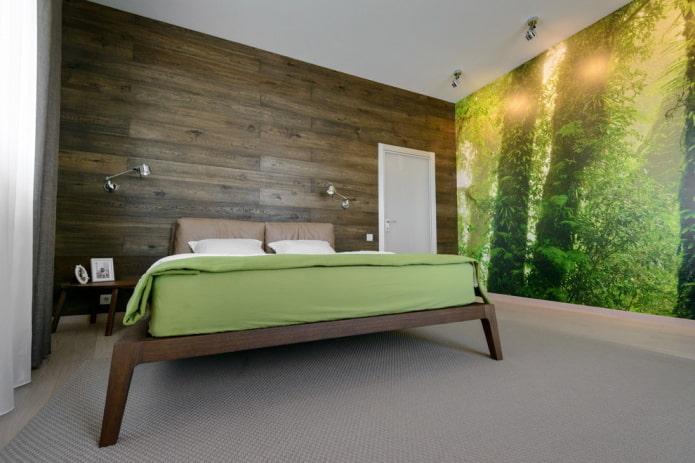 интерьер коричнево-зеленой спальни