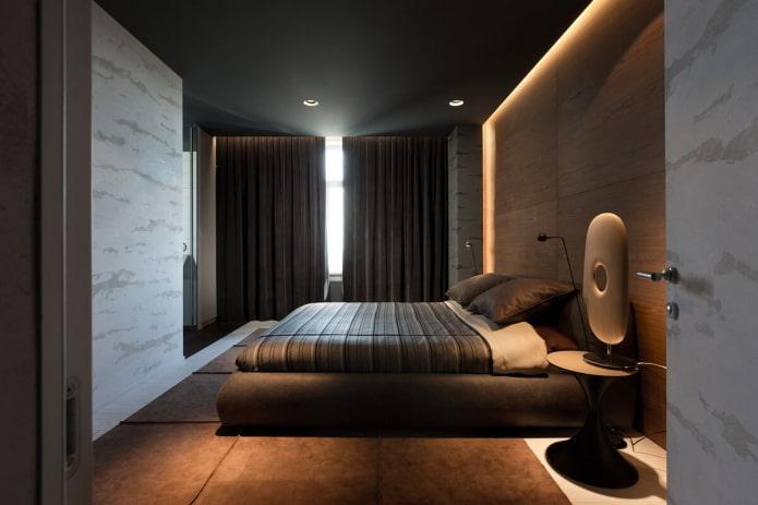 интерьер коричневой спальни в стиле минимализм