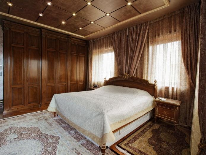 интерьер коричневой спальни в классическом стиле