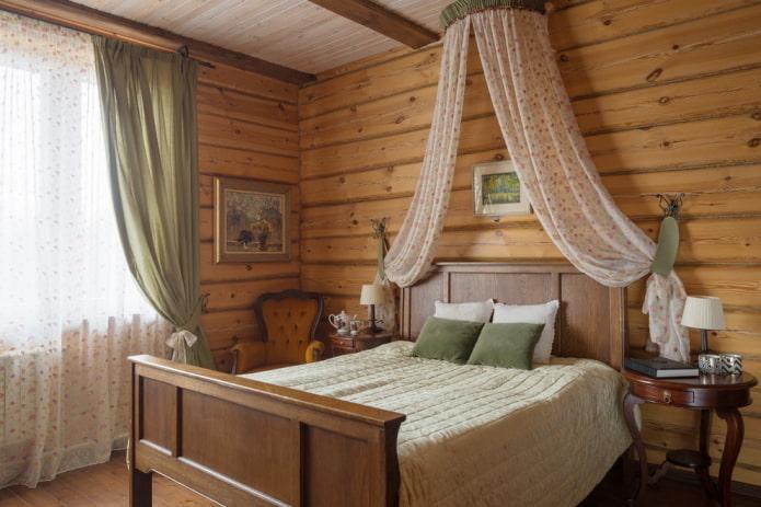 интерьер коричневой спальни в стиле кантри
