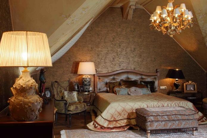 интерьер коричневой спальни в викторианском стиле