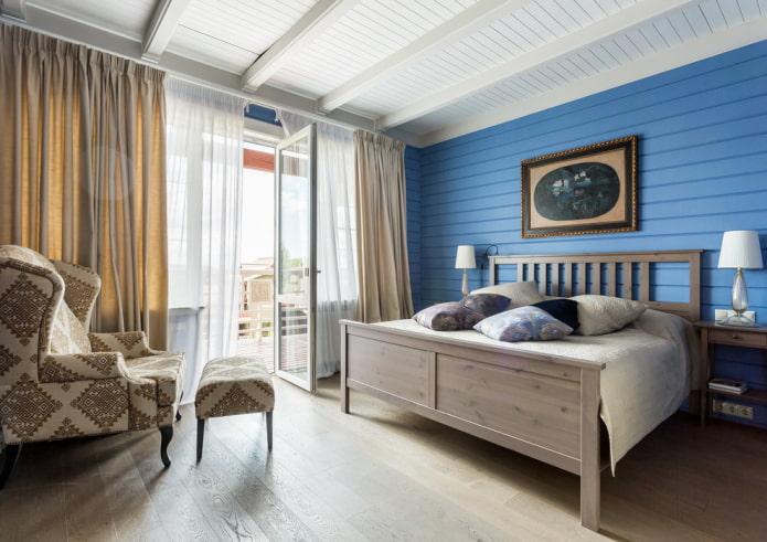 интерьер спальни с окнами в пол
