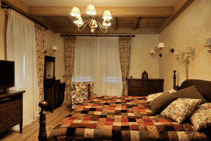 освещение в спальной комнате в стиле кантри