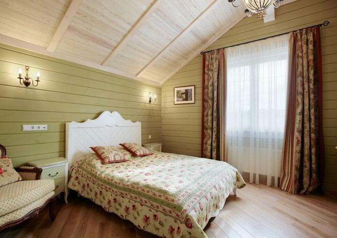 текстиль и декор в спальной комнате в стиле кантри