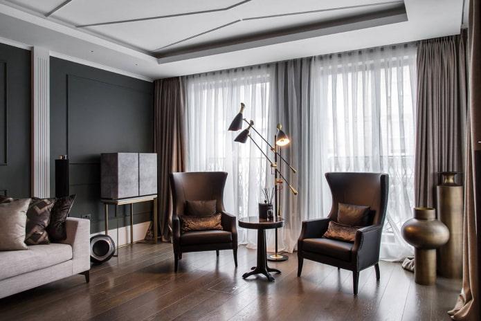 Гостиная в стиле арт-деко: 40 фото в интерьере идеи дизайна