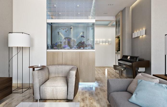 интерьер квартиры с аквариумом