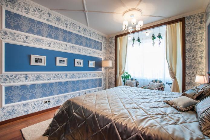 настенные молдинги в интерьере спальной комнаты