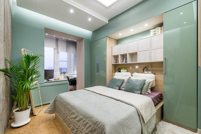 зеленая спальня в современном стиле