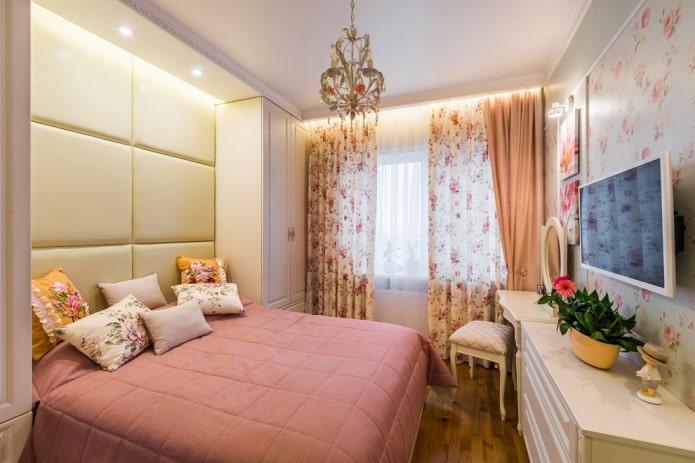меблировка в спальной комнате 9 квадратов