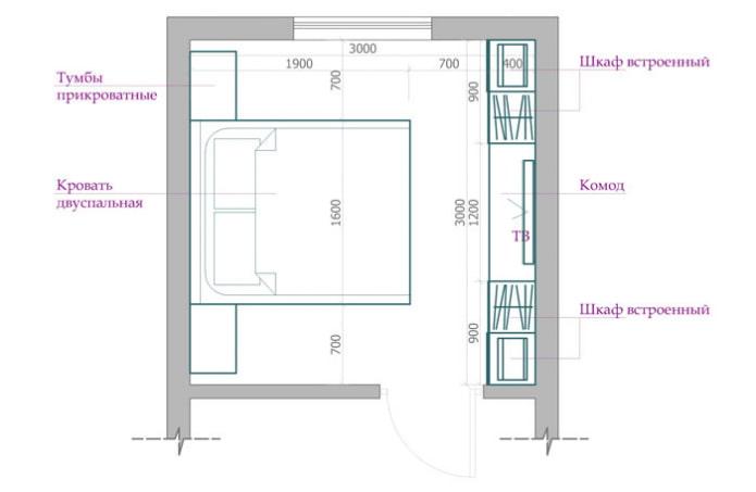 планировка спальни 9 кв