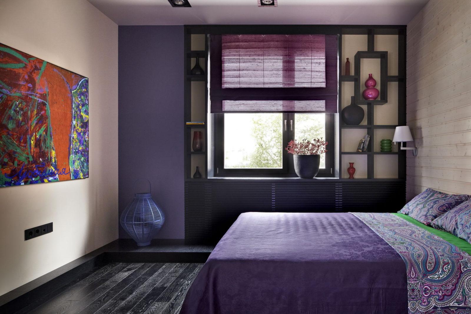 Сиреневый цвет стен в спальне фото