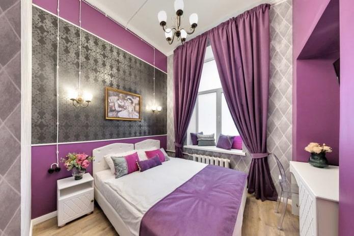 серо-сиреневый интерьер спальни