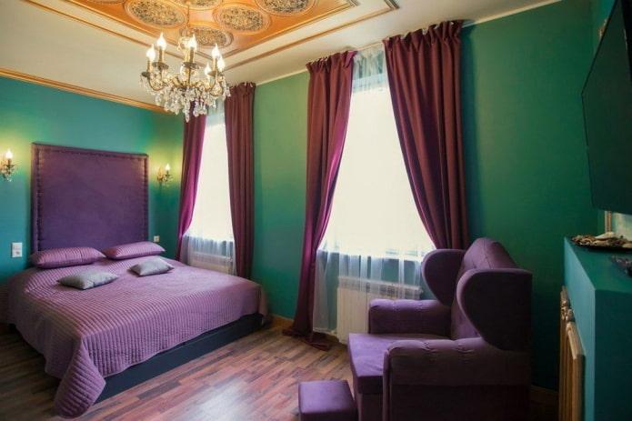 сиренево-зеленый интерьер спальни