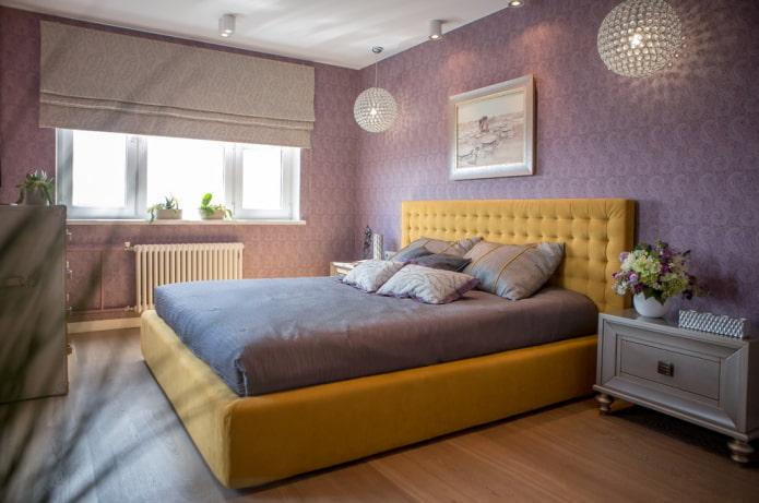 сиренево-желтый интерьер спальни