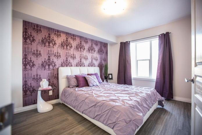 мебель в интерьере сиреневой спальни