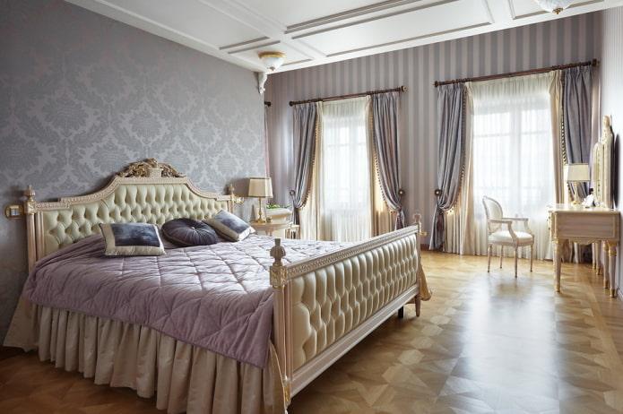 бежево-фиолетовый интерьер спальни
