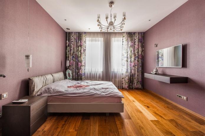 оттенки сиреневого в интерьере спальни