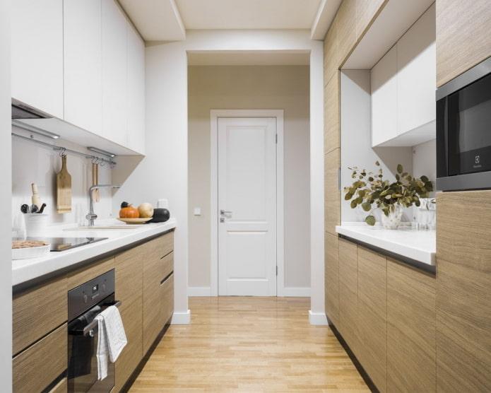 двухрядная планировка проходной кухни
