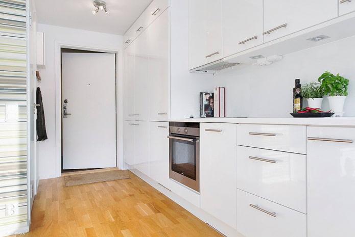 кухня совмещенная с коридором в светлых тонах