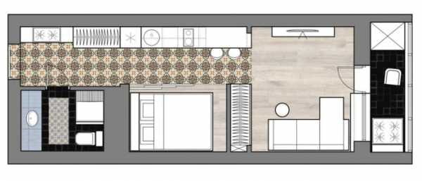 планировка кухни в прихожей в студии