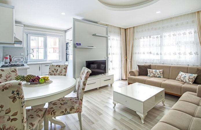 дизайн маленькой кухни-гостиной в прованском стиле