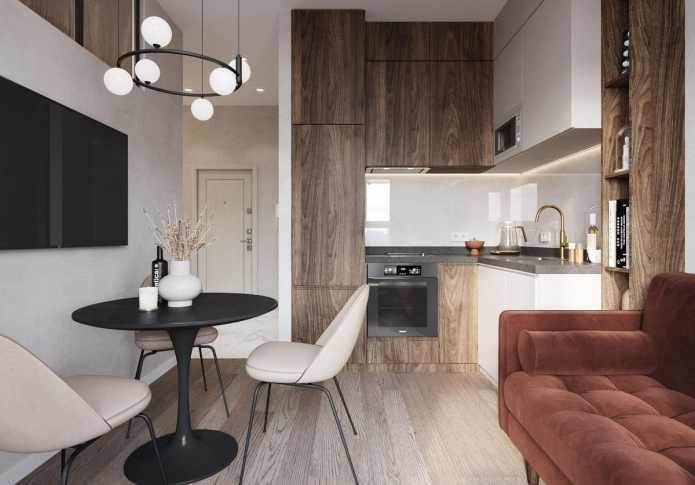 Квадратная кухня-гостиная