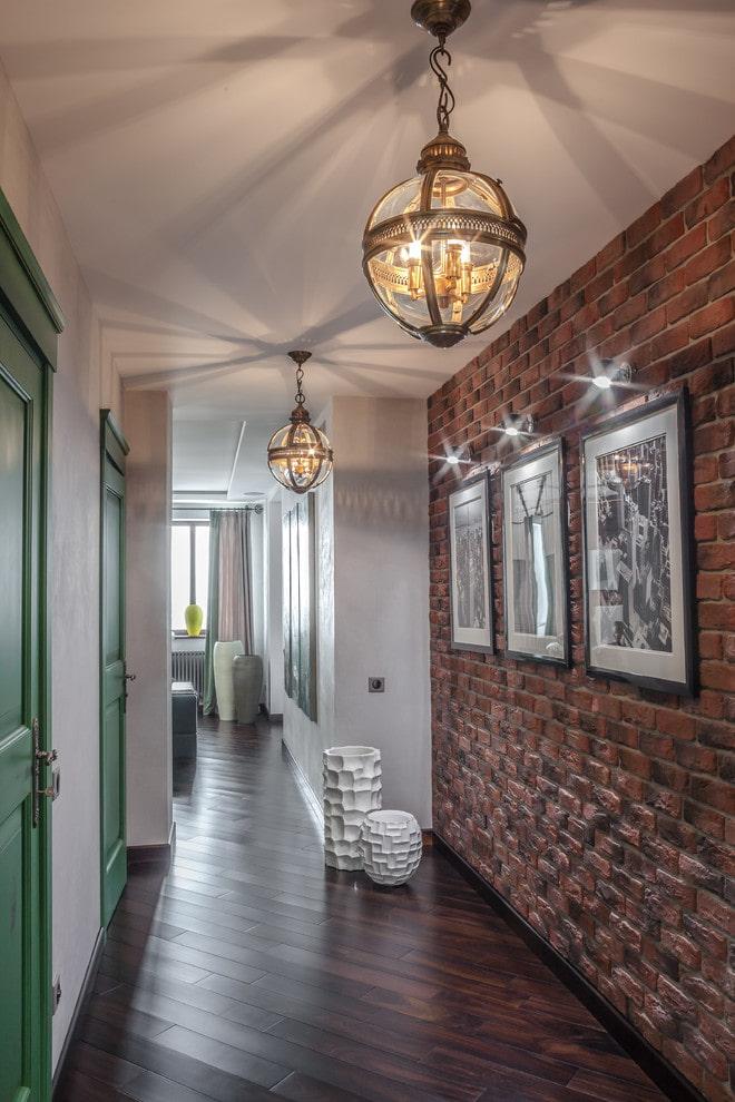 декоративное оформление коридора в стиле лофт