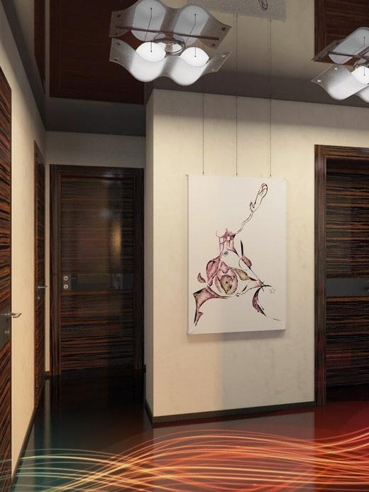 дизайн коридора в стиле хай-тек