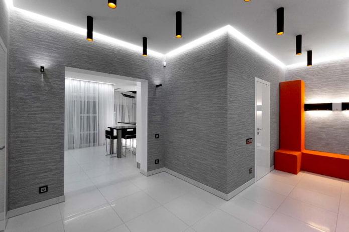 освещение в интерьере коридора в стиле хай-тек