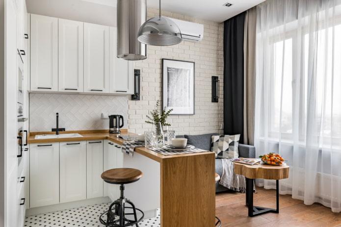 зонирование кухни-гостиной площадью 16 квадратов