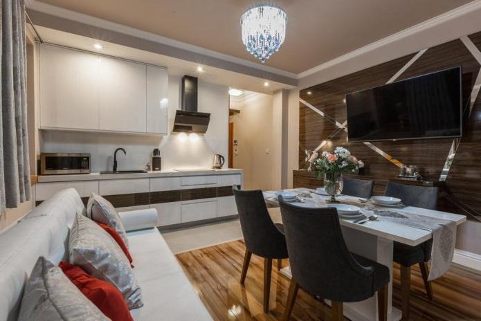 квадратная кухня-гостиная площадью 16 кв