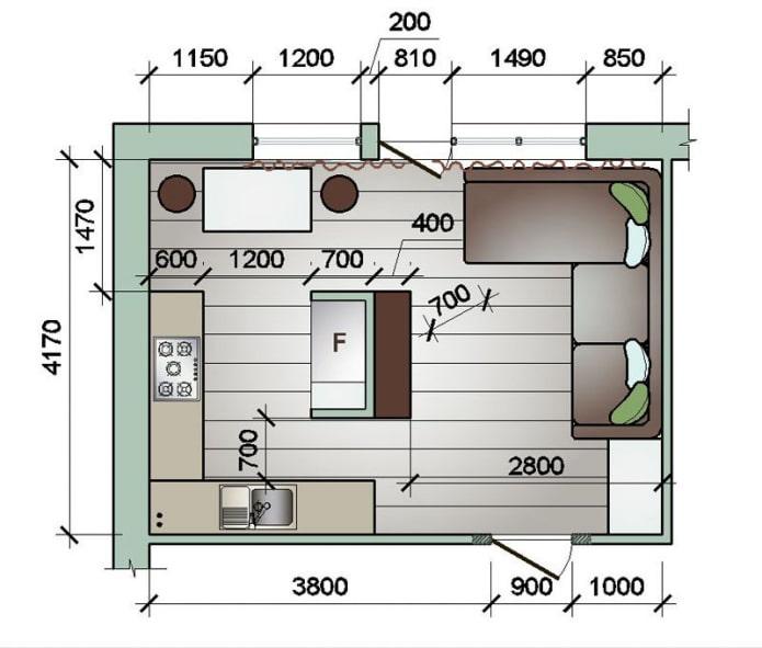 прямоугольная кухня-гостиная 16 квадратов