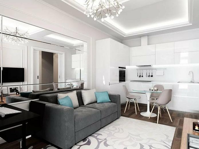 дизайн интерьера кухни-гостиной площадью 16 квадратов