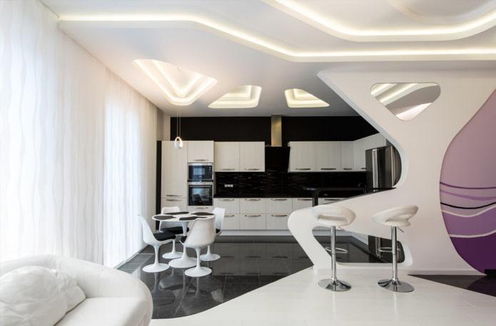 дизайн кухни-гостиной в стиле хай-тек