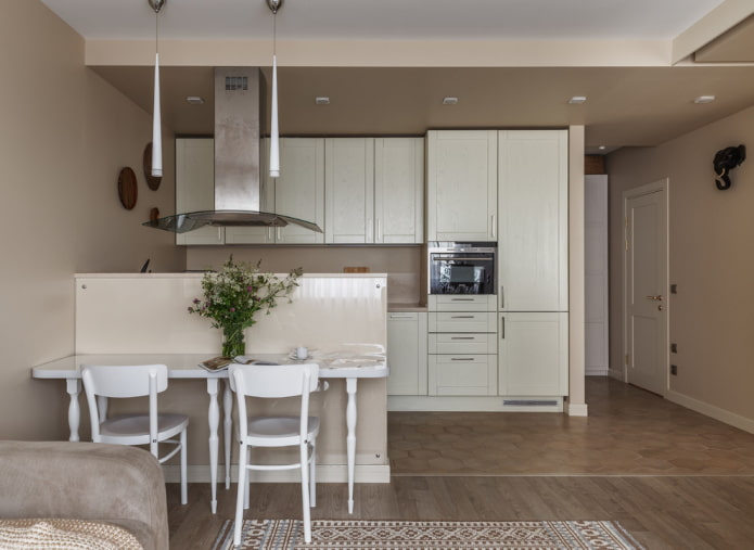 зонирование кухни-гостиной площадью 30 квадратов