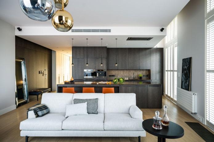 дизайн кухни-гостиной квадратной формы