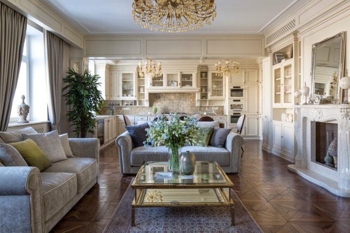 дизайн кухни-гостиной в стиле классика