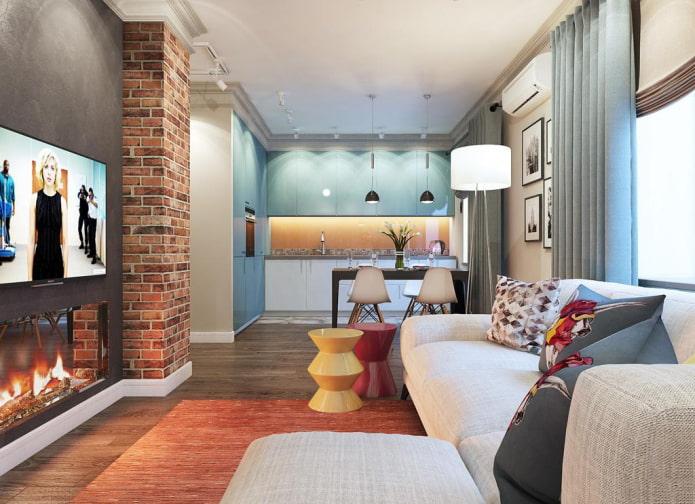 дизайн кухни-гостиной прямоугольной формы